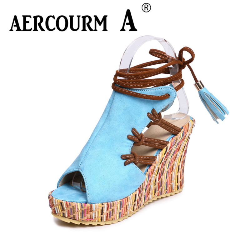 Aercourm A Women Flock Platform Summer Wedges High-heel Sandals Lady Ankle Strap Shoes Casual Black Red Blue Fish Mouth Sandals xiaying smile summer new woman sandals platform women pumps buckle strap high square heel fashion casual flock lady women shoes page 6