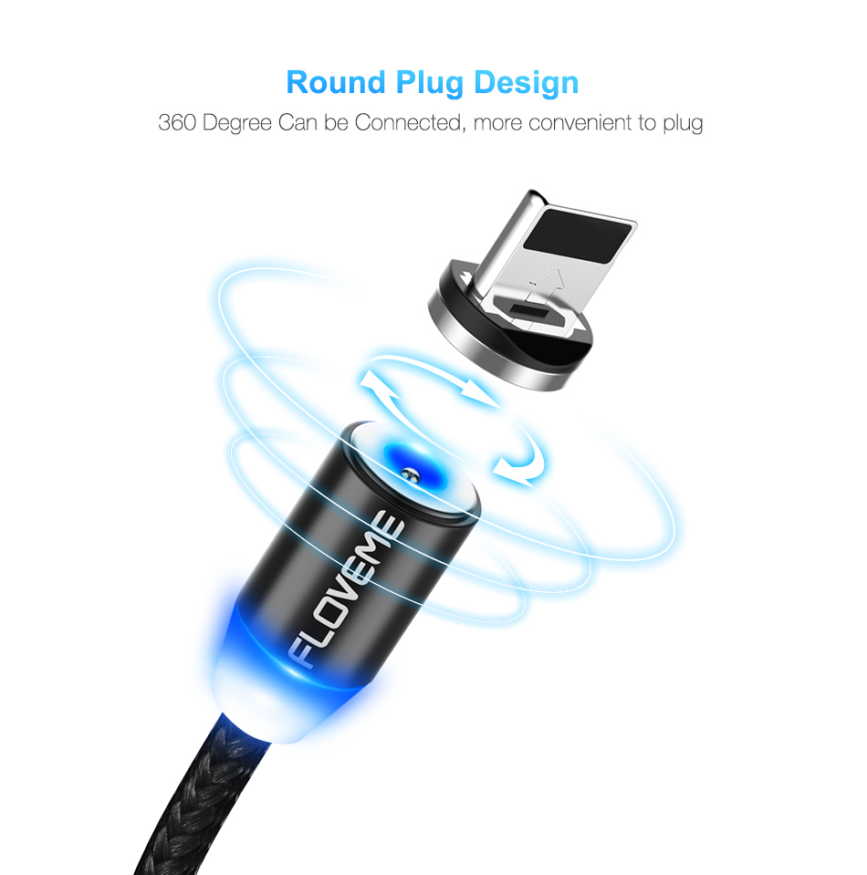 FLOVEME 1M Magnetic Charge Cable , Micro USB Cable For iPhone XR XS Max X Magnet Charger USB Type C Cable LED Charging Wire Cord 6