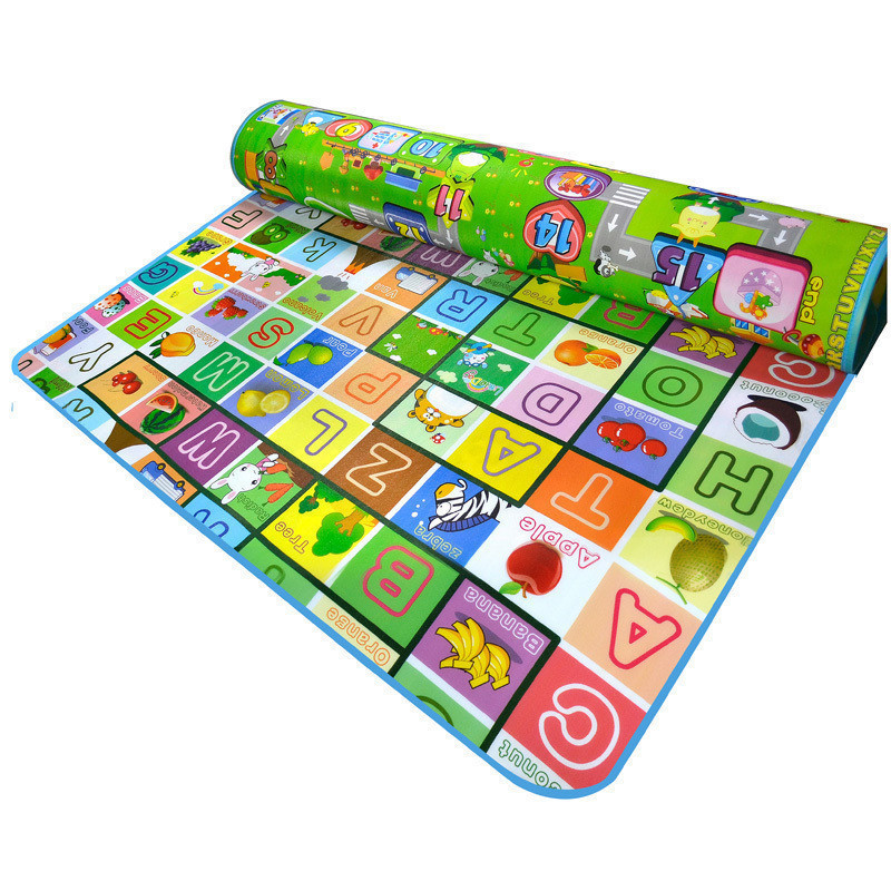 Baby Children crawling mat <font><b>learn</b></font> developing letter rug mat double faced playmats animal <font><b>farm</b></font> forest fruit printed <font><b>carpet</b></font> gift