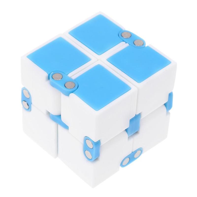 Детский кубик бесконечности, волшебный антистрессовый кубик-Спиннер, ручная головоломка, расширяющаяся рельефная игрушка для снятия стресса для детей, волшебный Спиннер для пальцев, подарок - Цвет: Синий
