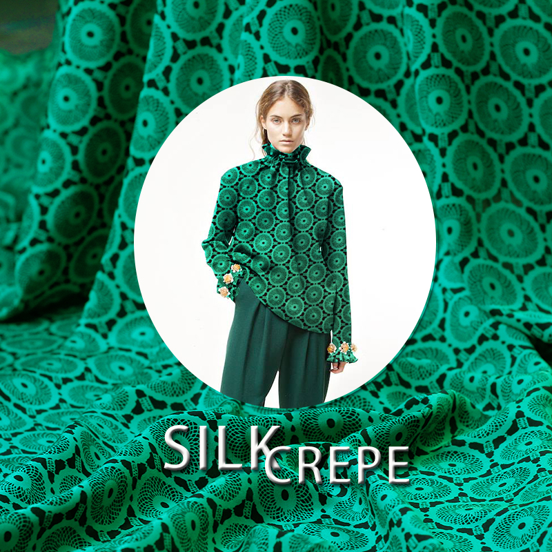 Green circle printing silk fabric silk crepe de chine fabric summer soft dress fabric pure silk fabric wholesale silk cloth
