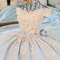 Vestido De Festa Light Blue Satin Vestido de Noite Longo Tribunal trem Robe De Soirée Vestidos de Festa Vestido Longo Parágrafo Casamento