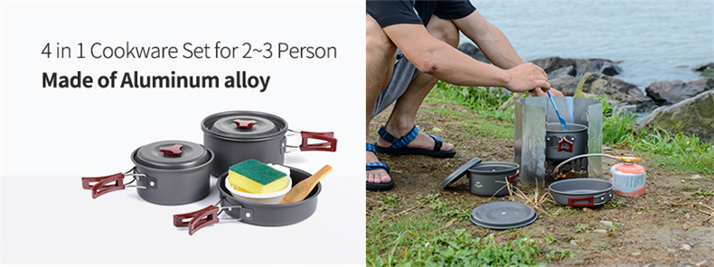 042-3  NatureHike Out of doors Tableware Tenting Climbing Cookware Set four in 1 Picnic For two-Three Individual NH15T203-G HTB1l