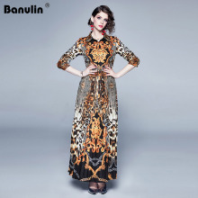 Banulin Fashion Designer Runway Dress Women Retro Vintage Leopard Print Long Sleeve Elegant Autumn Maxi Dresses