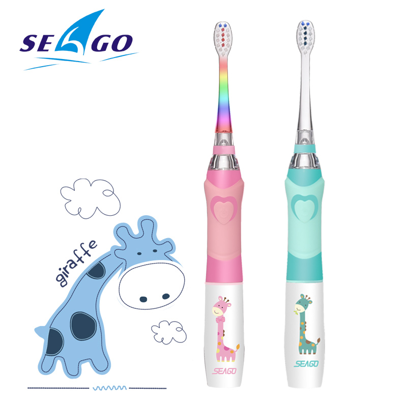 SEAGO Electric <font><b>Toothbrush</b></font> <font><b>kids</b></font> Cartoon Colorful Oral Observation LED Waterproof Soft Bristles Massage Teeth Care SG677 image