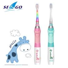 SEAGO elektrikli diş fırçası çocuklar karikatür renkli Oral gözlem LED su geçirmez yumuşak kıllar masaj diş bakımı SG677