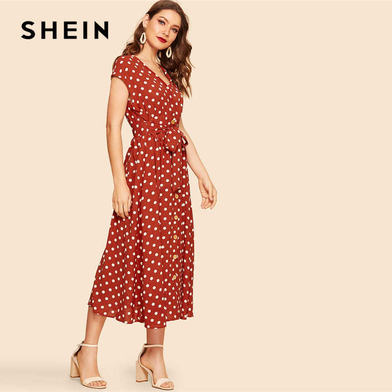 SHEIN Vintage Polka-dot Print Belted Hemd Taste Kleid Frauen 2019 Sommer Cap Sleeve V-ausschnitt Lange Fester Verschiebung kleider