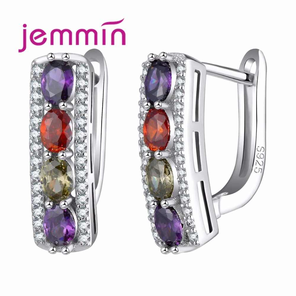 Fine Quality Hoop Earrings With Oval Crystal 925 Sterling Silver Wedding Engagement Earring For Women Girls Brincos Gift