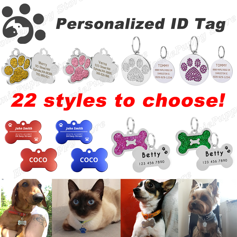 Personalized Dog ID Tags Engraved Metal Name Tag for Cat Puppy font b Pet b font