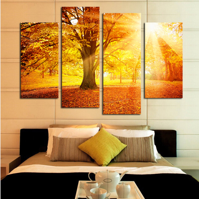 Unframed)4 Plane Sunset Golden Forest Picture Painting Wall Art ...