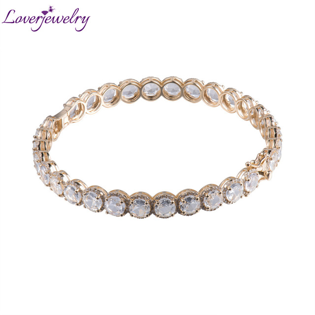 14k Solid Gold Bangle Bracelet With Natural White Topaz And Diamond Na002