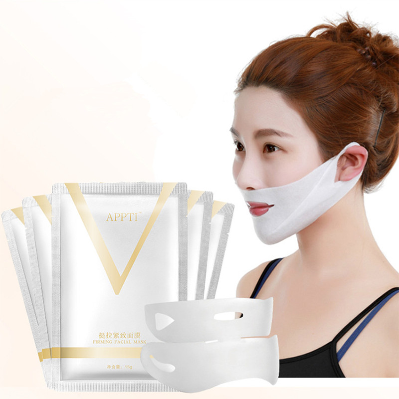 1pcs 4D Double V Face Shape Tension Firming Mask Paper Slimming Eliminate Edema Lifting Firming Thin Masseter Face Care Tool(China)