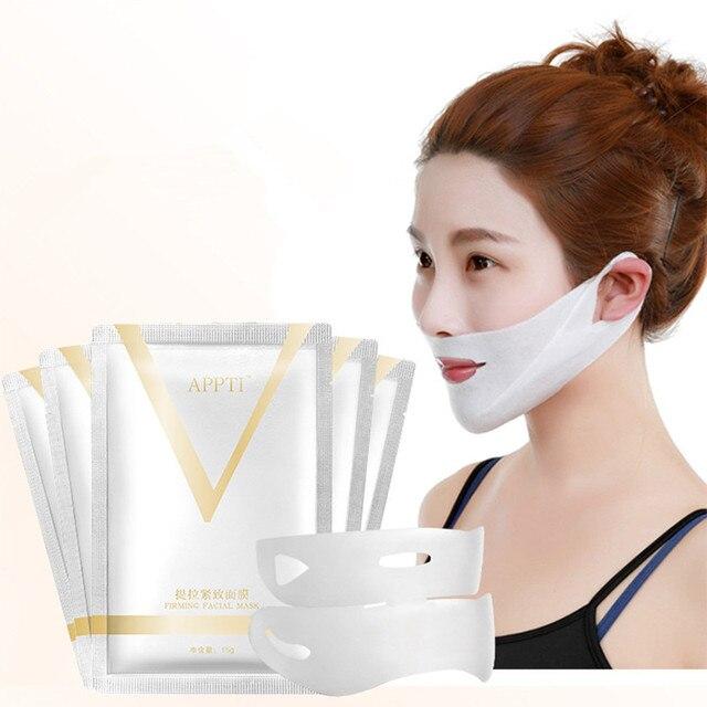 1 piezas 4D Doble V Forma de cara tensión reafirmante máscara de la máscara de papel de adelgazamiento eliminar Edema elevación reafirmante delgada masetero cuidado de la cara herramienta