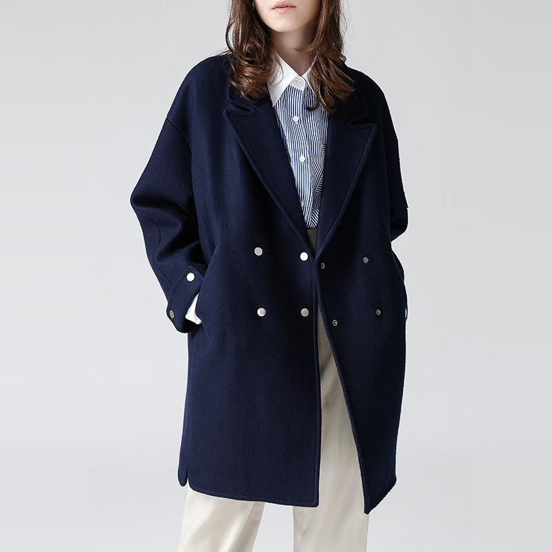 Toyouth Для женщин свободное шерстяное пальто двубортное пальто женские Офисные женские туфли шерстяное пальто зима Твердые длинным рукавом ...