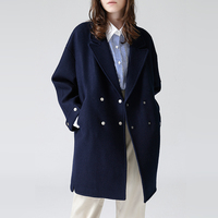 Toyouth Women Loose Wool Coat Double Breasted Overcoat Female Office Lady Woolen Coat Winter Solid Long Sleeve Casaco Feminino