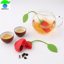 Teapot Teacup Strawberry Design Silicone Tea Strainer Infuser Filter Bag Teabag Food Grade  Herbal Spice Tools