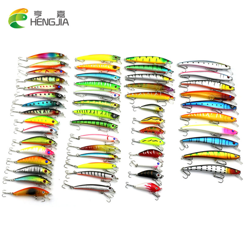 HENGJIA 53pcs/lot pesca fishing lure Mixed 7 models fishing tackle Minnow lure Crankbait Popper isca aitificial fishing wobbler 1pcs 12cm 14g big wobbler fishing lures sea trolling minnow artificial bait carp peche crankbait pesca jerkbait ye 37