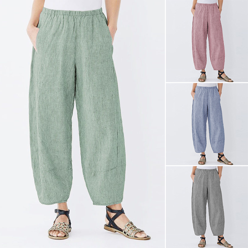 Women's Striped Pants ZANZEA 2020 Vintage Elastic Waist Pant Female Streetwear Pantalon Palazzo Plus Size Woman Lantern Trousers