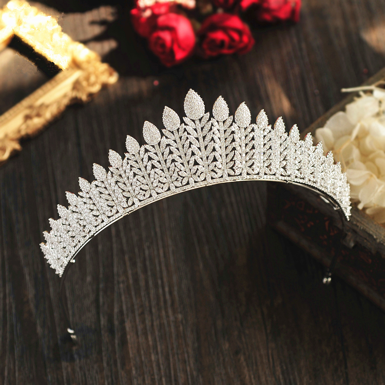 Micro Paved Full Cubic Zircon Tiara Luxury Zirconia Crown Wedding Hair Accessories Bride CZ Coroa Novia Bijoux Cheveux WIGO1196
