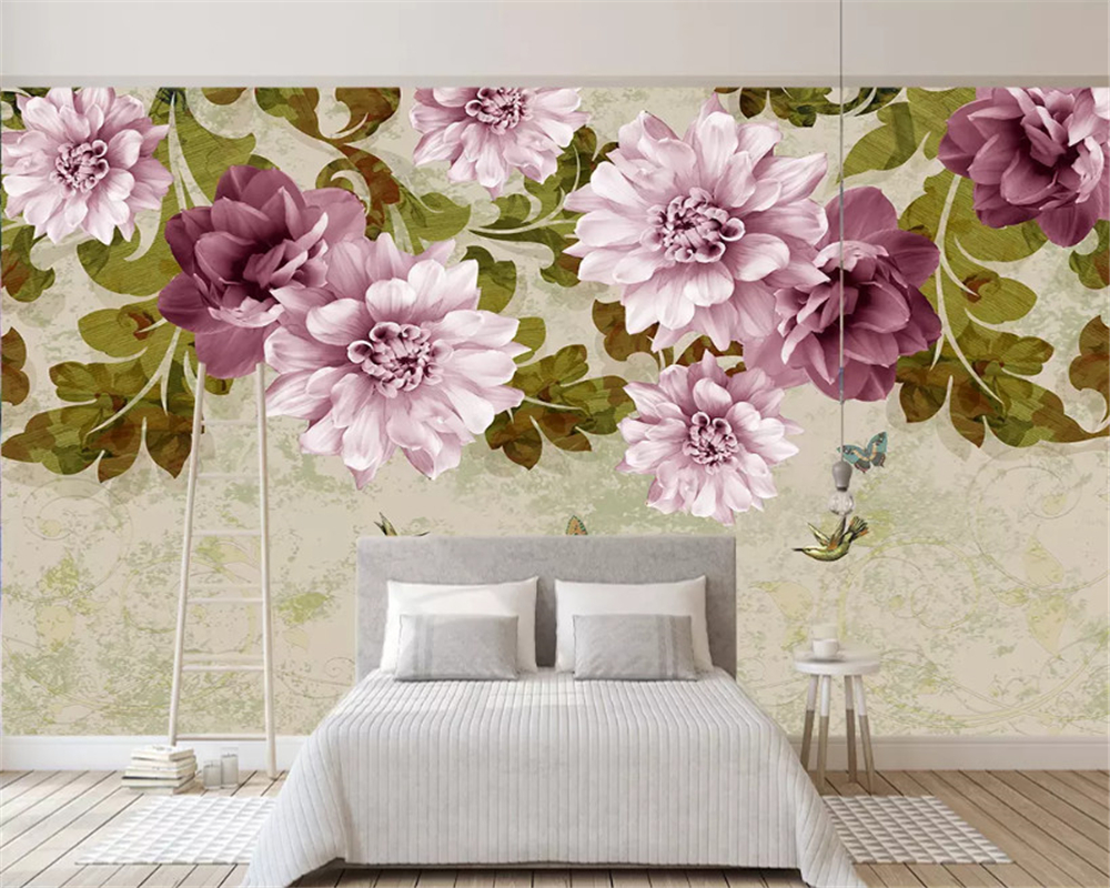 beibehang Custom thickened classic wallpaper 3D three-dimensional embossed jewelry flower TV background wall papers home decor