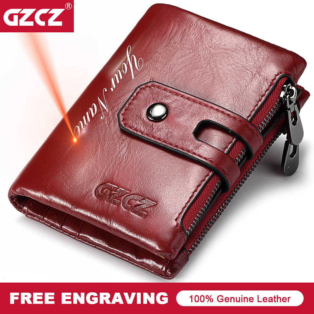 GZCZ  Free Engraving Name 100% Genuine Leather Women Wallet New Fashion PORTFOLIO Gift Purse Female Coin Purse Pocket Money Bag
