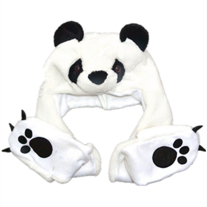 Smart Cosplay Plush Cartoon Panda Hats With Ear Flaps Paw Fluffy Soft Warm Animal Hat Fit For Kid Child Baby Scarf Gloves Winter Cap