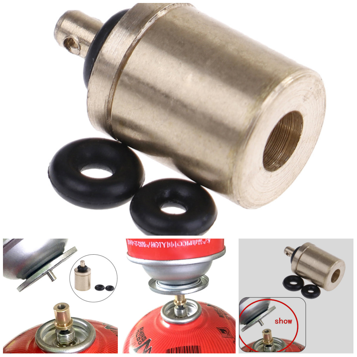 Outdoor Camping Hiking Stove Gas Burner Gas Cylinder Tank Refill Adapter SK