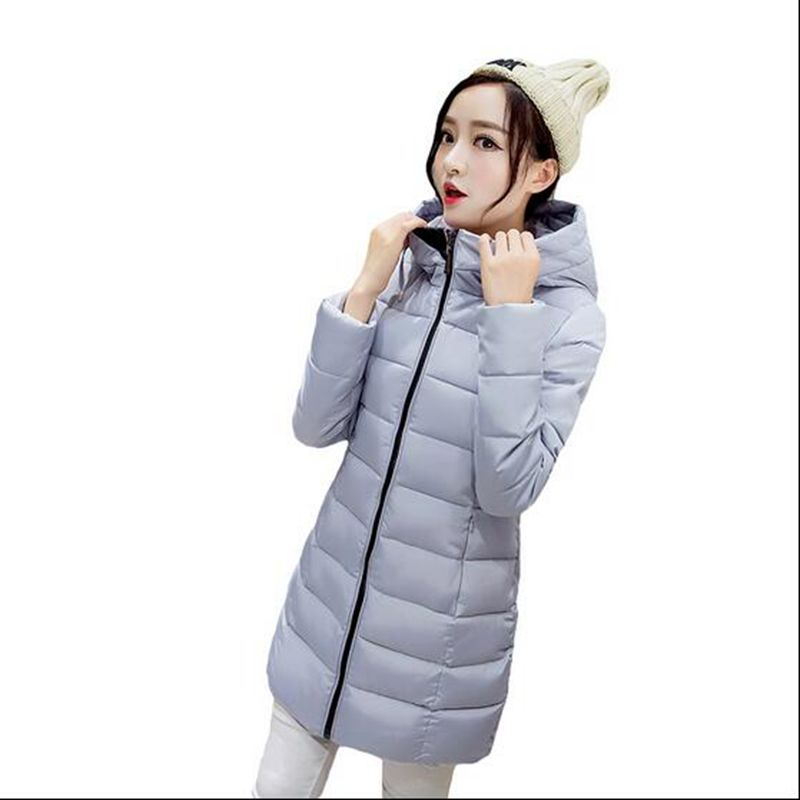 2016 Winter Women Medium long Hooded Down jacket Fashion Slim Thin Cotton jacket Large size Casual