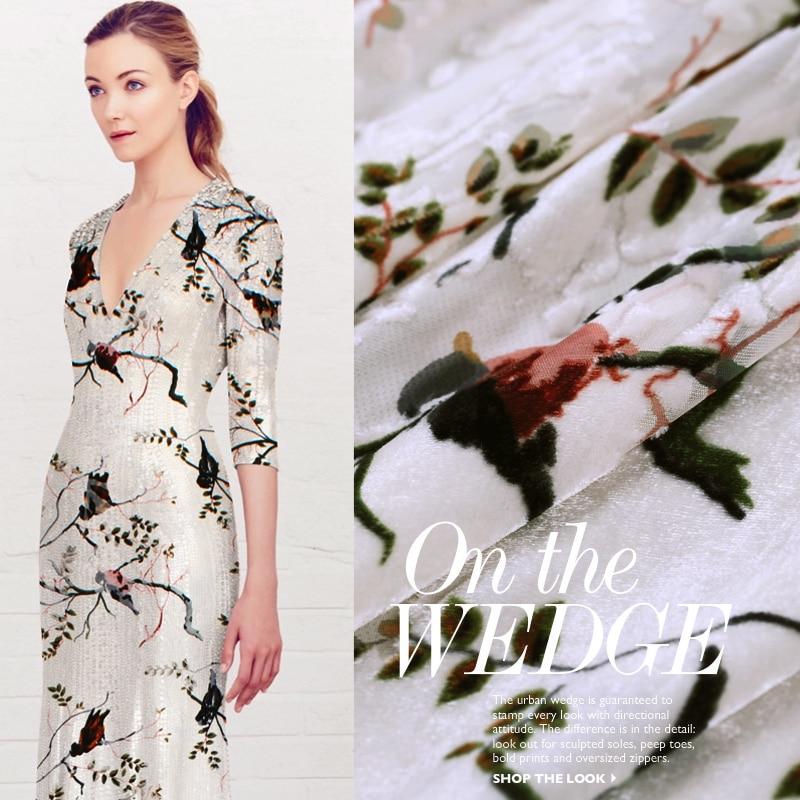 9932092d89 Śpiew Warbler kalmary niska żakardowe jedwabiu wypalona aksamitu tkaniny  jedwabiu odzieży qipao sukienka tkaniny jedwabne morwy szaliki
