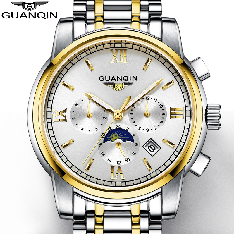 купить NEW Gold Men's Watch GUANQIN Mens Watches Top Brand Luxury Watch Men With Moon Phase Date Month Week Luminous 24 Hours Display дешево