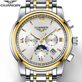 NEW Gold Men's Watch GUANQIN Mens Watches Top Brand Luxury Watch Men With Moon Phase Date Month Week Luminous 24 Hours Display