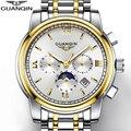 NOVAS Dos Homens de Ouro Assistir GUANQIN Relógio Mens Relógios Top Marca de Luxo homens Com a Fase Da Lua Data Mês Semana Luminosa 24 Horas de Exibição