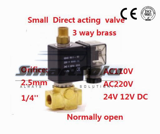 Free shipping Normally open Direct acting Brass Small Gas Electric 3 way water solenoid valve water G1/4 12V DC 2.5mm NBR Seals