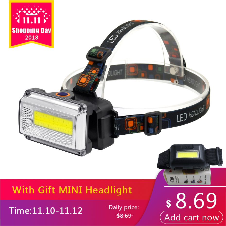 ANYIGE COB LED Headlamp Hunting Fishing headlight Flashlight Torch Camping lantern 18650 Battery Red/Green/Yellow Strobe Light cob led headlamp rechargeable cob headlight white red green lights 18650 battery head torch flashlight for hunting night fishing