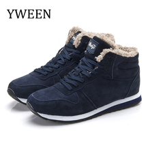 YWEEN Winter Boots Men Fashion Fur Flock Shoes Leather Ankle Warm Casual Size 36-48