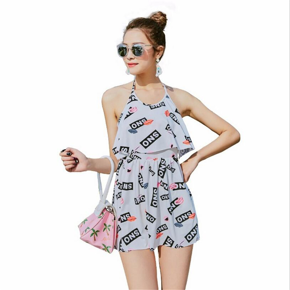 Grils Quick Dry Breathable Summer Swimsuits Students One Piece Swimming Skirt Seaside Holiday Bandage Haler Korean Swimwear 2018