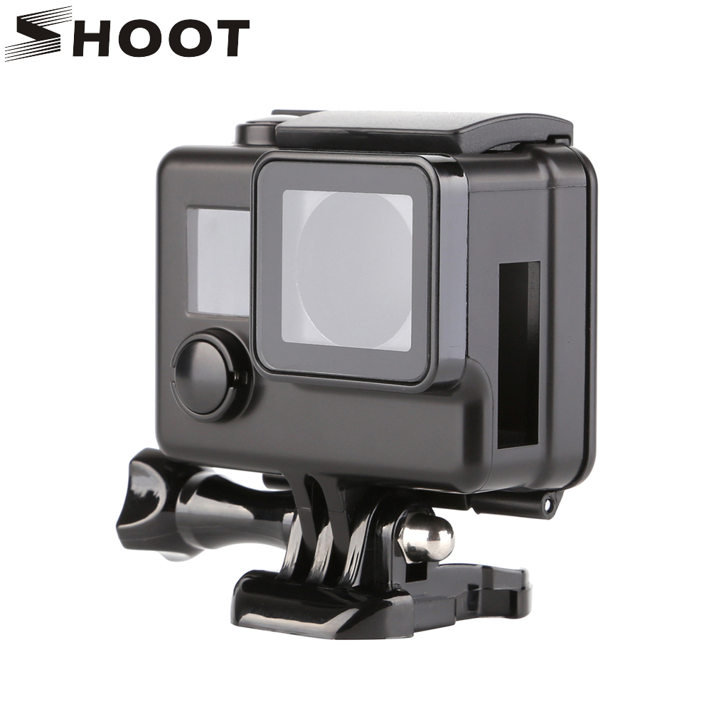 SHOOT Black Side Open Protective Housing Case For Gopro Hero 3 4 3+ Professional Skeleton Protector Cover For Go Pro 4 Camera dazzne dz 316 replacement protective housing case side open for gopro hero 3 4