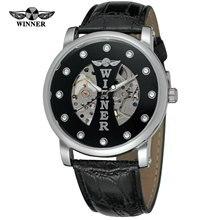 92d16e28d الفائز ووتش الميكانيكية الرجال الهيكل العظمي ساعة اليد جلدية حزام ساعة معصم  Relogio Masculino الفاخرة الأزياء