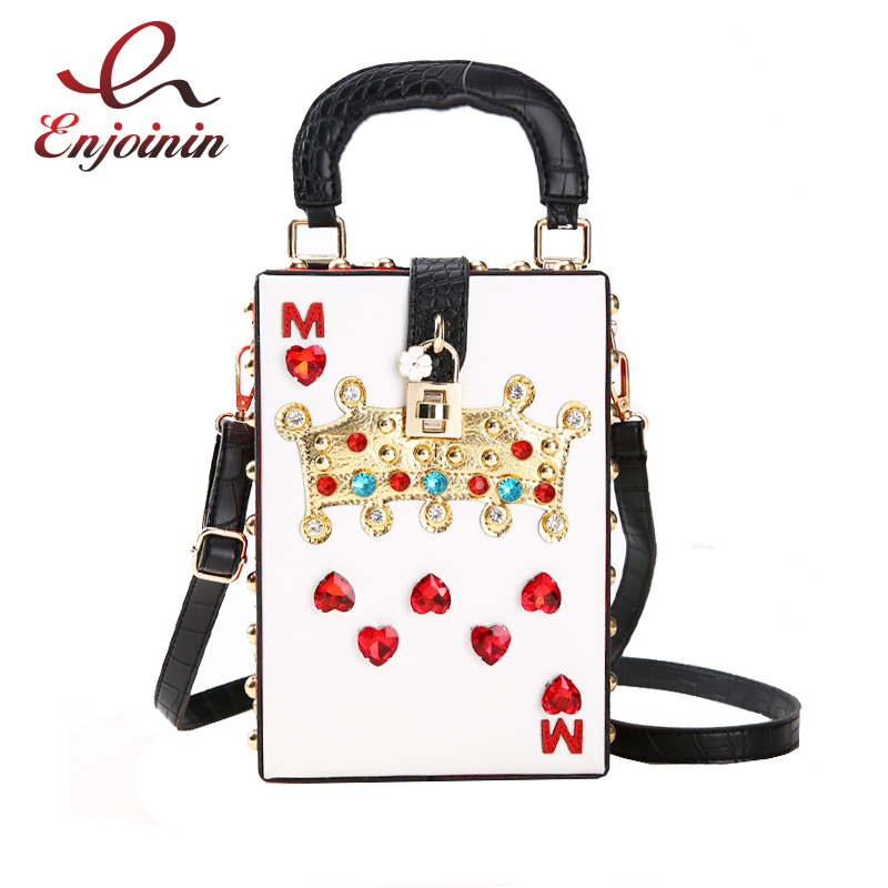 Luxury Fashion Diamond Crown Flower Buckle Pu Leather Box Style Party Bag For Women Shoulder Bag