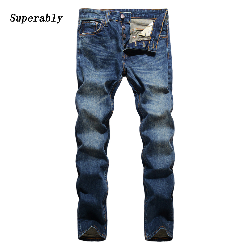 Classic Men`s Buttons Jeans Loose Straight Mid Stripe Designer Jeans Men 28-36 Quality Brand Clothing Denim Jeans Pants 14114 classic mid stripe men s buttons jeans ripped slim fit denim pants male high quality vintage brand clothing moto jeans men rl617