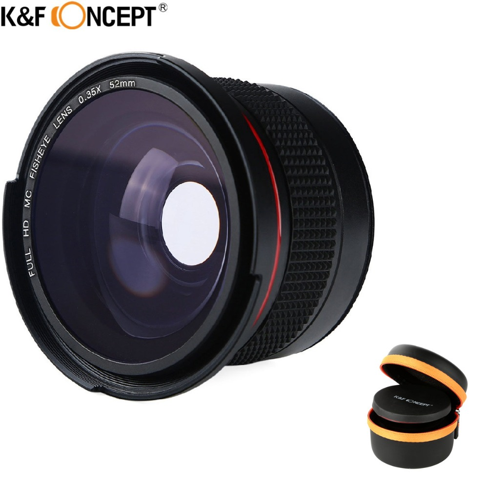 K&F CONCEPT 52mm 0.35x Wide Angle Macro HD Panoramic Fisheye Lens For Canon 600d 550d Nikon D3300 D5100 Sony Digital DSLR Camera 52mm 0 21x fixed fisheye wide angle lens with removable hood for canon nikon sony dslr camera