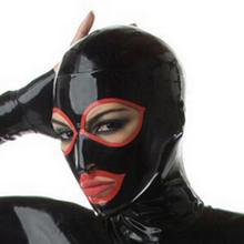 unisex sexy lingerie exotic club wear black latex open eyes mouth  hoods with red trim cekc zentai fetish customize size XS-XXL