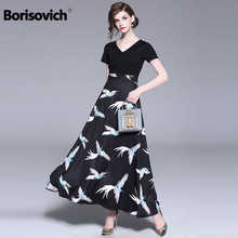 Borisovich Women Casual Long Dress New Brand 2018 Summer Fashion Patchwork Print Big Swing Ladies Evening Party Dresses M781 - DISCOUNT ITEM  28% OFF Women\'s Clothing
