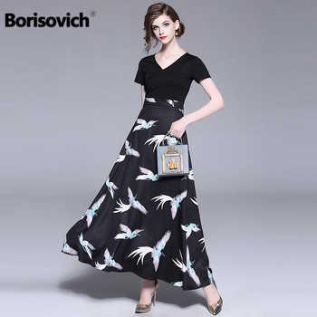 Borisovich Women Casual Long Dress New Brand 2018 Summer Fashion Patchwork Print Big Swing Ladies Evening Party Dresses M781