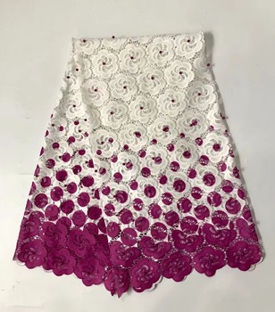 2019 High quality Bead Embroidery guipure water Swiss African milk silk cord soluble print lace Fabric for dress 5y/lot RL0106