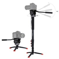 Photography Camera Tripod Set Four Section Telescoping Monopod+Fluid Head+Support Base Bracket Tripod Kits Photo Stand