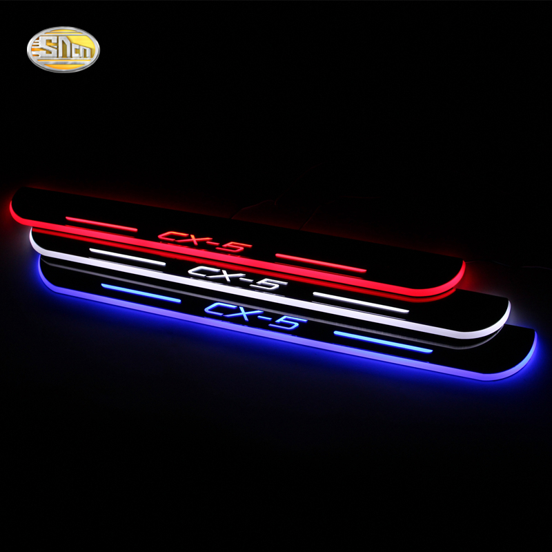 2x LED Moving Welcome Lights Door Sill Scuff Plate Trim Panel Mazda 3 6 CX5 CX3