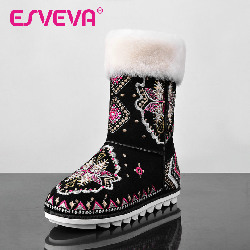 ESVEVA 2016 Black National Style Snow Boots Slip on  Flat  Heel Ankle Boots Real Leather Warm Fur Ladies Winter Shoes Size 34-40 hee grand women snow boots winter flat panda pattern shoes woman fur cotton slip on snow ankle boots size 35 40 xwx4498