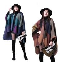 Moda mujeres reversible Plaid viento nacional oversized manta poncho chal cabo multiusos Chaquetas