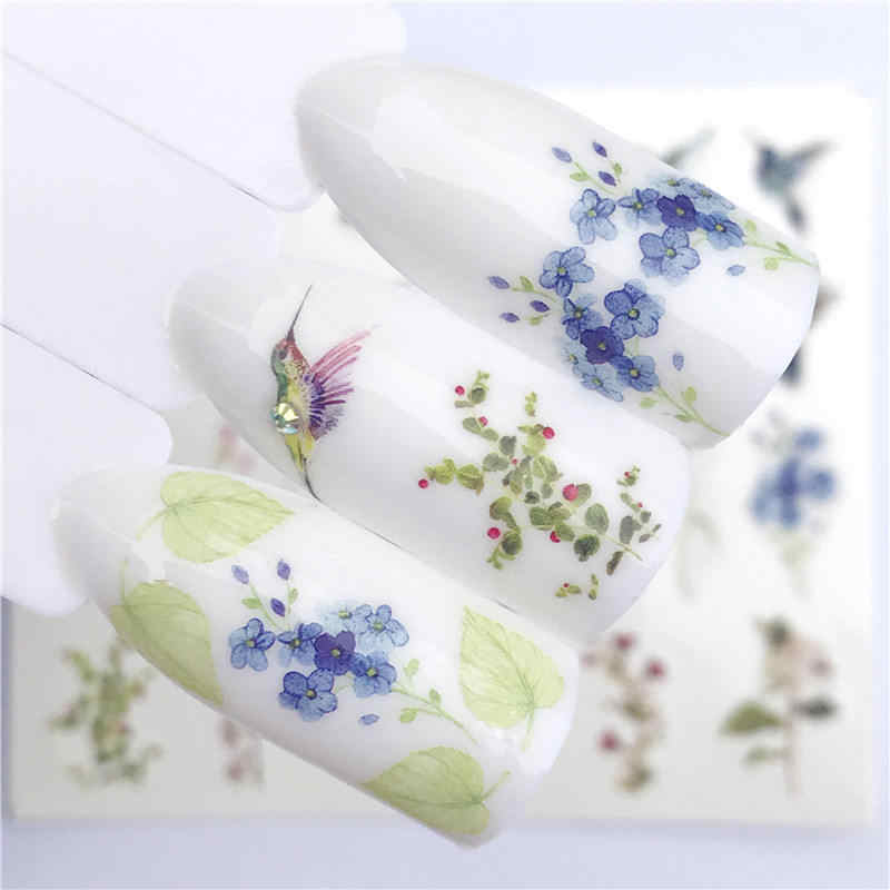 WUF 1 PC Flower / Animal Designs Water Transfer Sticker Nail Art Decals DIY Fashion Wraps Tips Manicure Tools